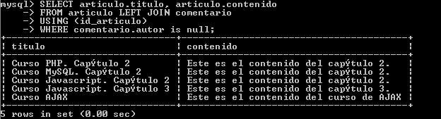 Curso MySQL. Capítulo 3: Sentencias SQL de manipulación de